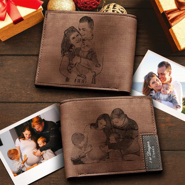 Custom Short Double-Sided Photo Wallet Brown