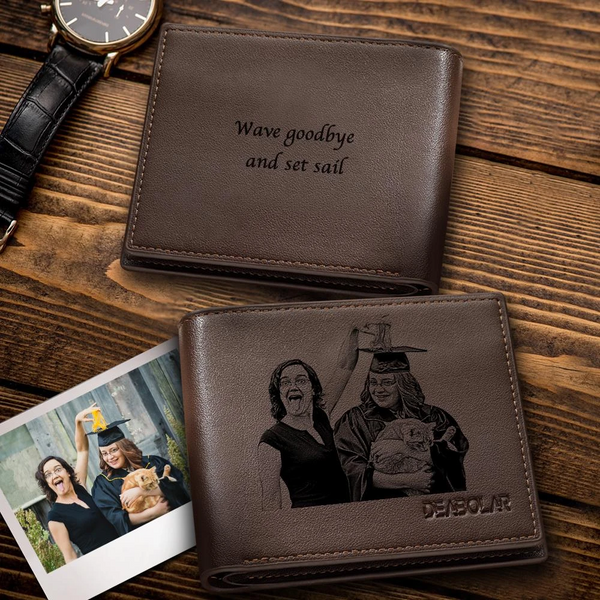 Men's Custom Photo Engraved Wallet | 2020 Graduation Gifts