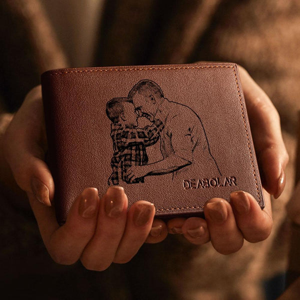 Men's Custom Photo Engraved Wallet Brown | Gifts for Gentlemen