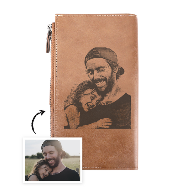 Long Style Bifold Custom Photo Wallet Brown