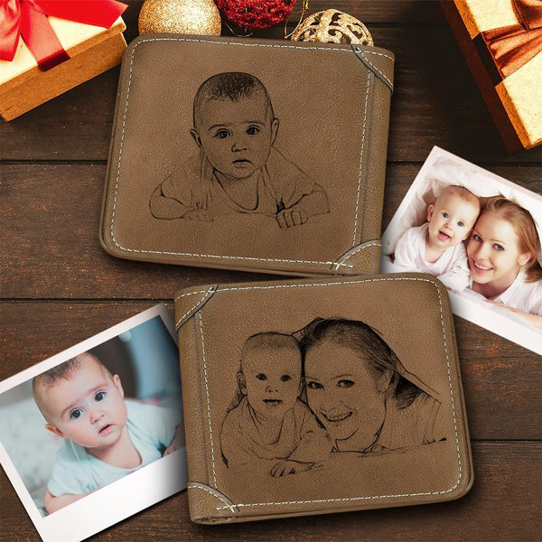 Custom Double-Sided Photo Engraved Wallet Brown Leather