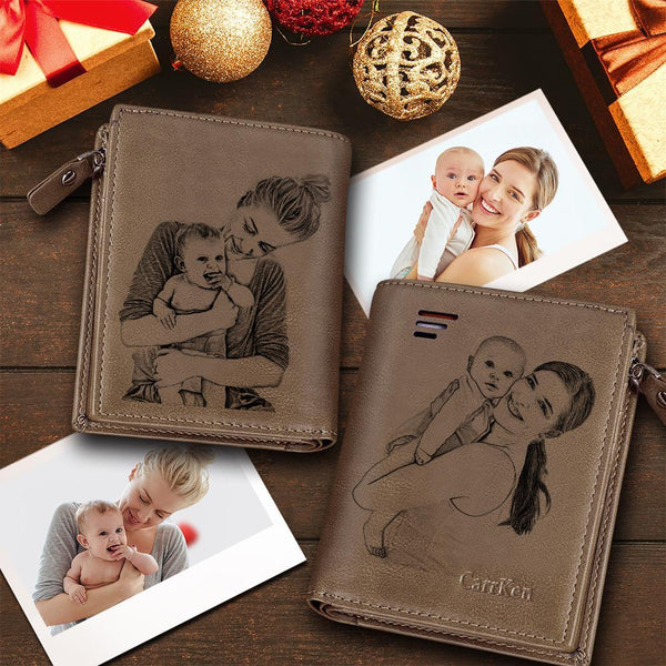 Custom Short Double-Sided Photo Engraved Wallet