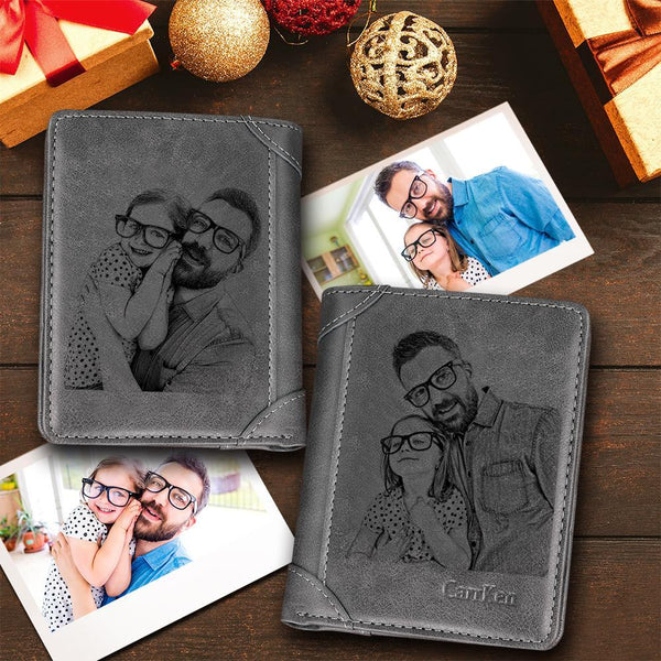 Custom Short Double-Sided Photo Engraved Wallet Grey Leather
