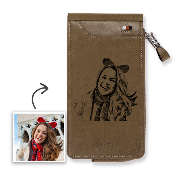 Custom Engraved Photo Wallet Card Holder Brown Leather