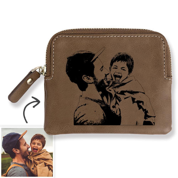 Custom Photo Engraved Zipper Wallet Coin Purse Card Case For Dad - Brown Leather