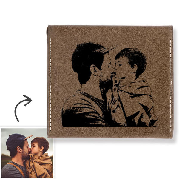 Custom Photo Engraved Wallet Coin Purse - Brown Leather