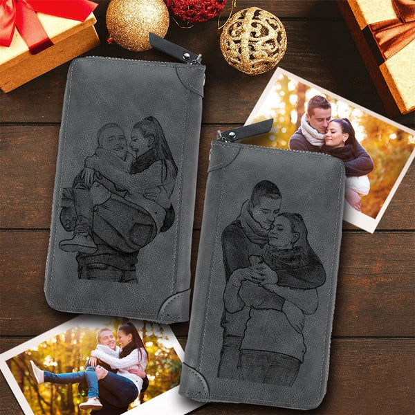 Custom Double-Sided Photo Engraved Wallet Long Style Zipper Wallet