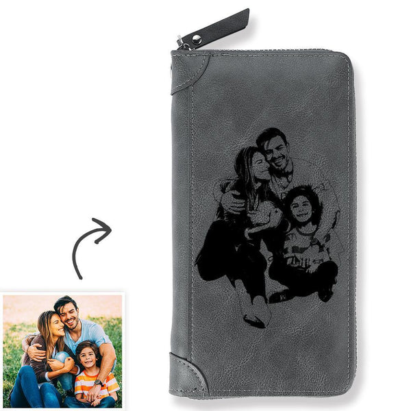 Custom Photo Engraved Zipper Wallet - Grey Leather