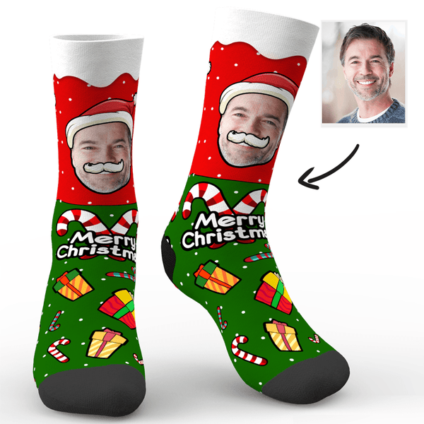 Custom Face Socks On Santa Claus