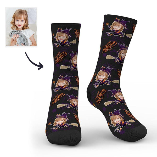 Halloween Witch Custom Face Socks