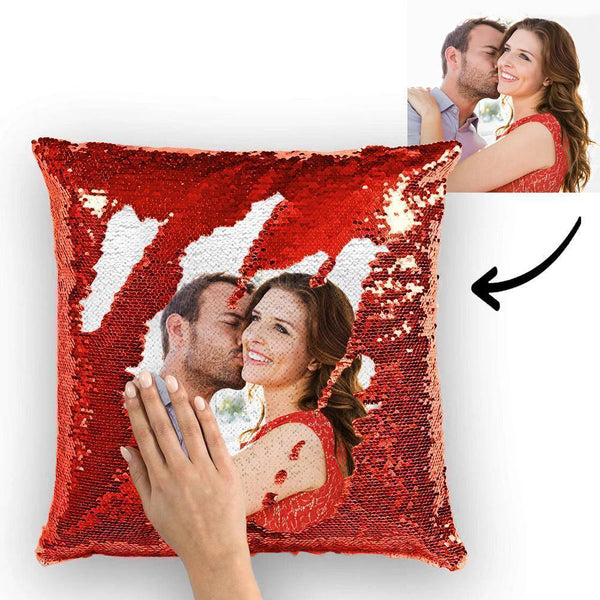 Custom Photo Magic Sequin Pillow Red