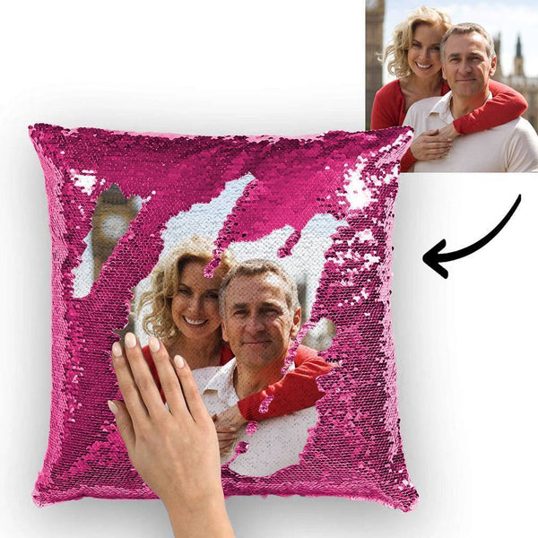 Custom Photo Magic Sequin Pillow Pink