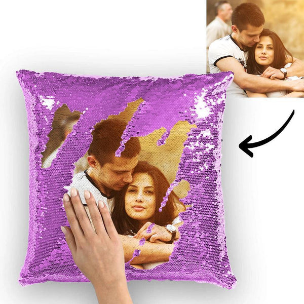 Custom Photo Magic Sequin Pillow Purple