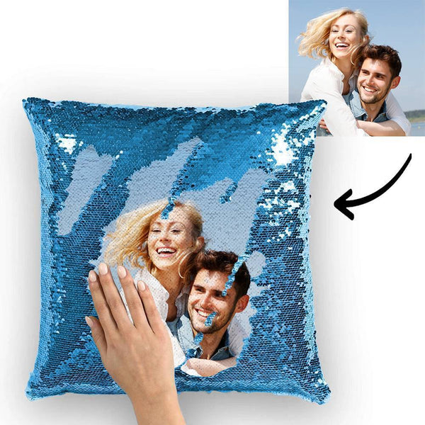 Custom Photo Magic Sequin Pillow Lake Blue
