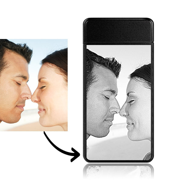 Personalized Photo Engraved Lighter | Electronic Cigarette Lighter | Scrub Black