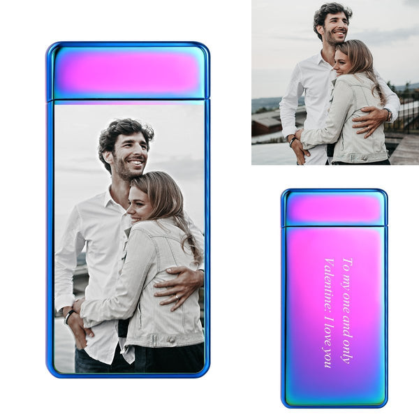 Custom Photo Engraved Lighter Color Printing | Electronic Cigarette Lighter | Purple