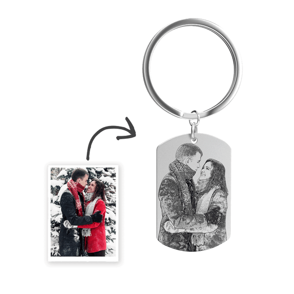Custom Photo Engraved Keychain Stainless Steel