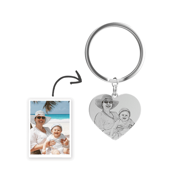 Custom Photo Engraved Keychain Stainless Steel - Heart