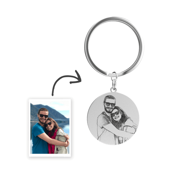Custom Photo Engraved Keychain Stainless Steel - Round