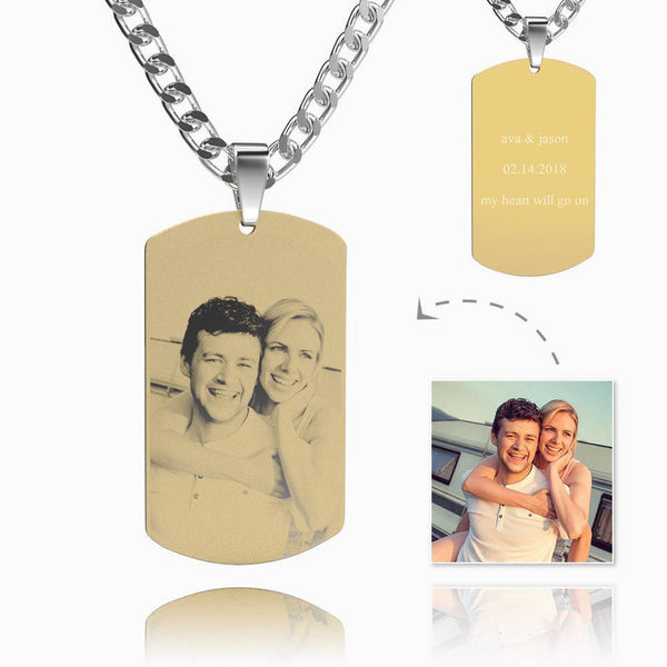 Men's Photo Engraved Dog Tag Necklace 18k Gold Plated Stainless Steel Pendant