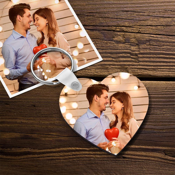 Custom Wooden Photo Keychain Heart Shape