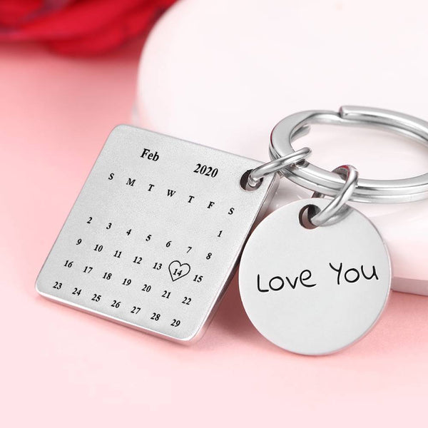 Custom Photo Engraved Calendar Keychain | Best Anniversary Gift