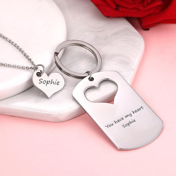 Custom Engraved Couple Keychain and Necklace Set - Heart Dog Tag