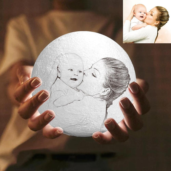 Custom Engraved 3D Photo Moon Lamp | Touch to Convert 2 Colors | Mom's Gift