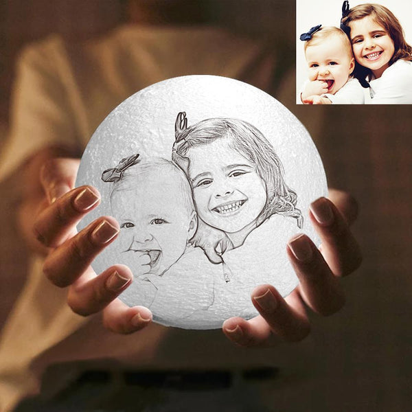 Custom Engraved 3D Photo Moon Lamp | Tap to Convert 3 Colors | Mom's Gift