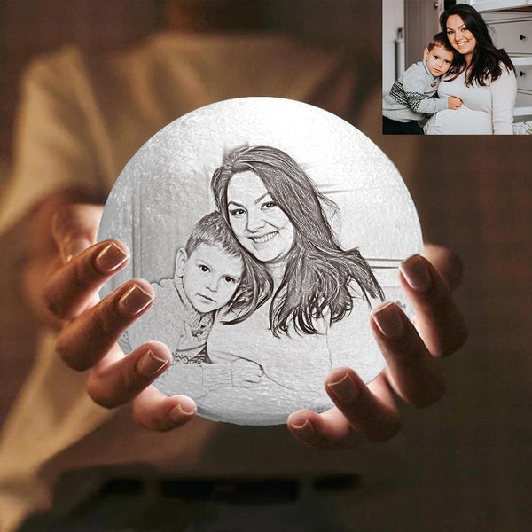 Personalized Engraved 3D Photo Moon Lamp | Remote Control to Convert 16 Colors | Mom's Gift