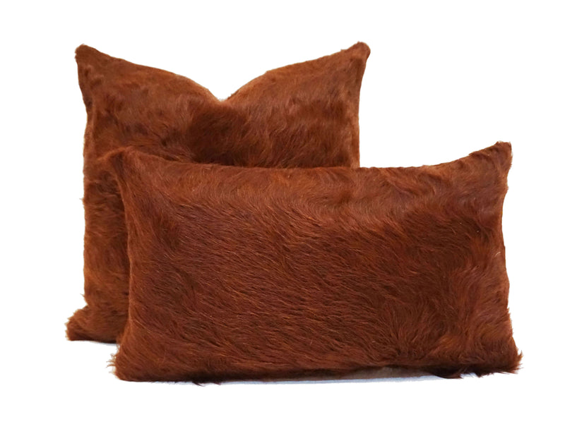 Natural Tobacco Cowhide Pillow