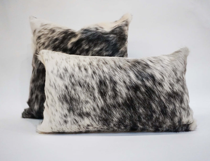 Natural Salt Pepper Black White Cowhide Pillow