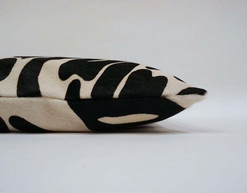 Stenciled Zebra Cowhide Pillow