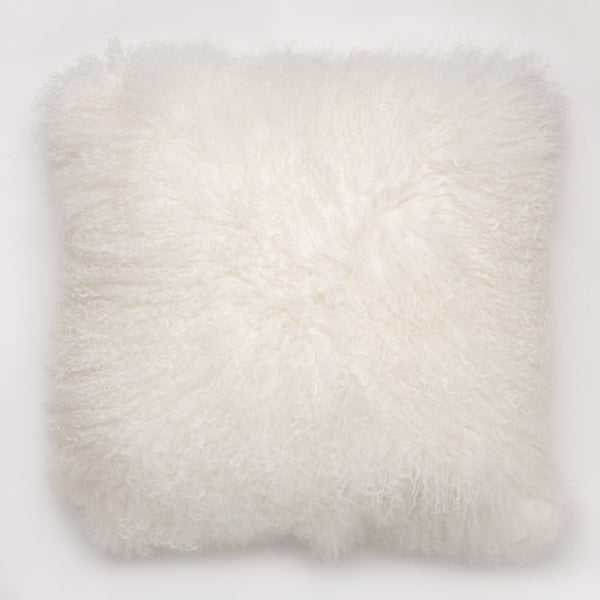 white curly lamb pillow