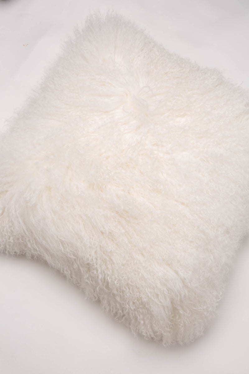 Mongolian Curly Lamb Pillow - Natural White
