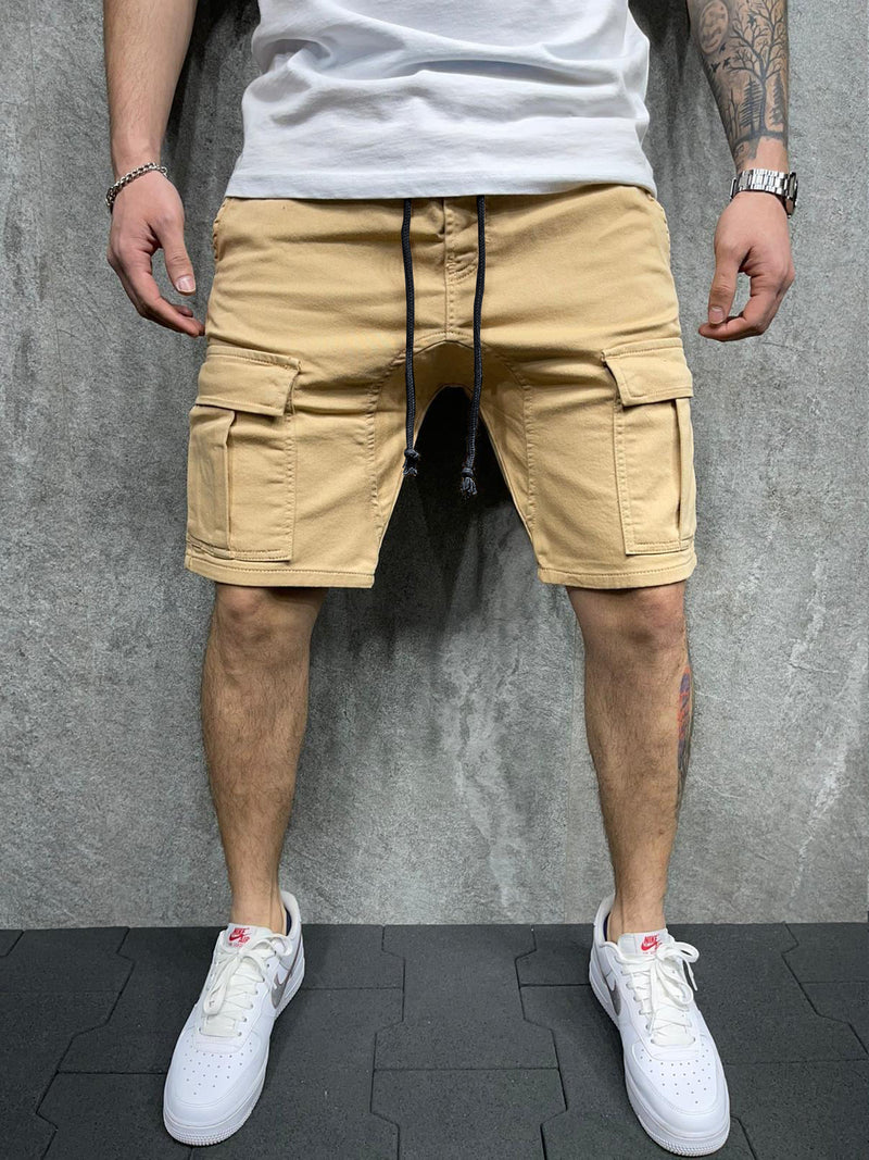 Summer Solid Color Cargo Shorts