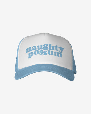 Load image into Gallery viewer, Naughty Possum Light Blue Trucker Hat