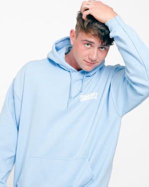 Load image into Gallery viewer, Naughty Possum Light Blue Hoodie