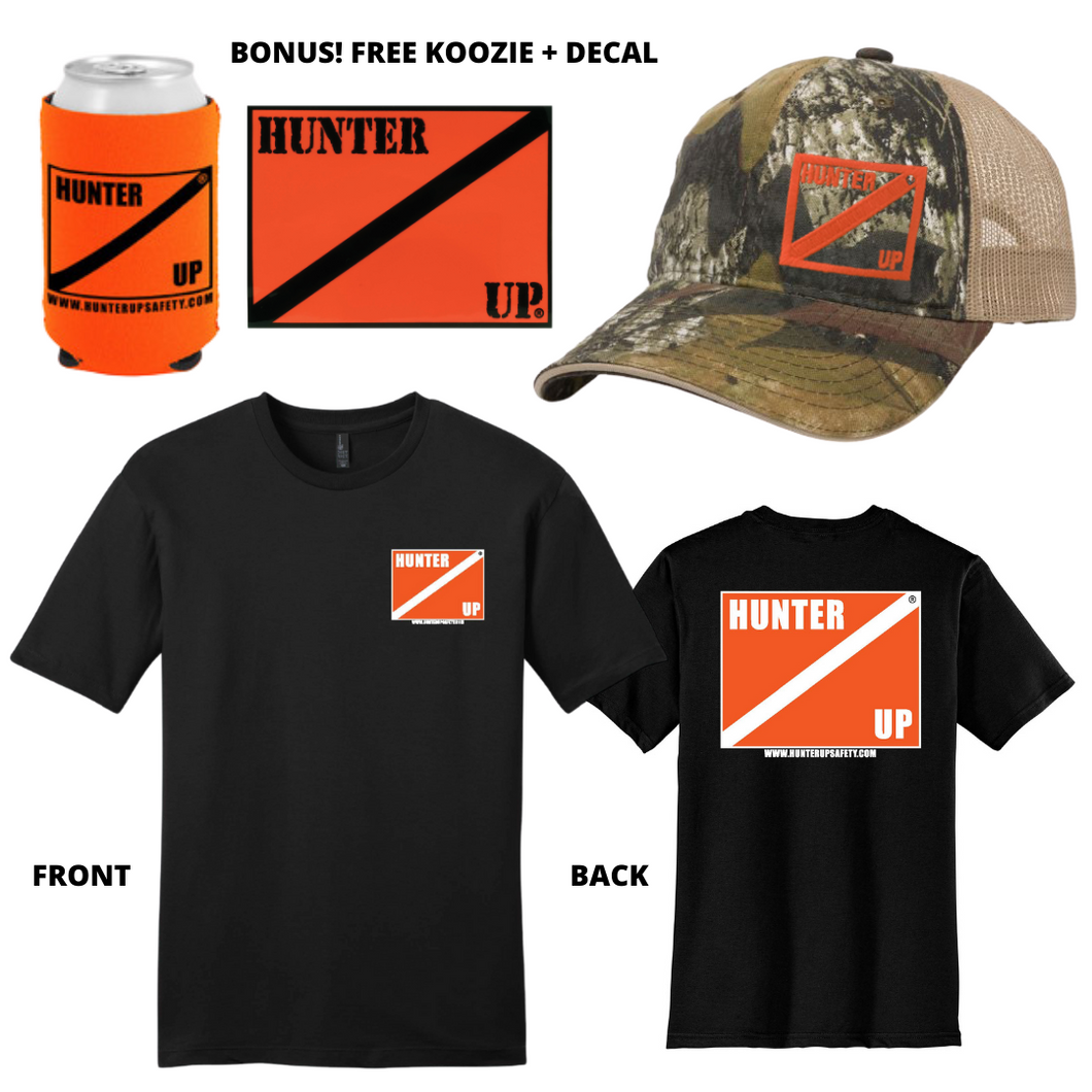 Hunter Up T-shirt + Hat + Decal + Koozie Combo Pack