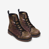 Golden Leaves on Burgundy Vegan Leather Combat Boots