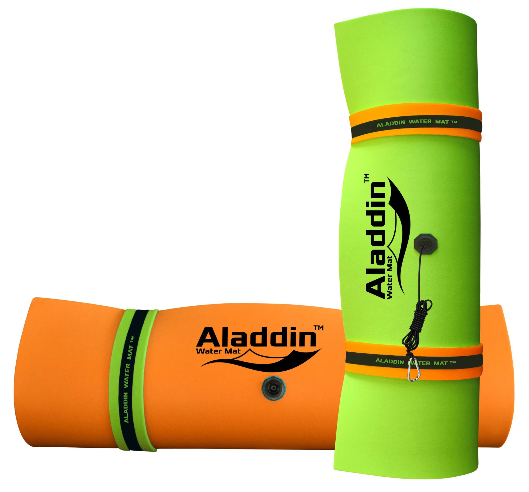 Aladdin Water Mat™ (9x6) Floating Water Mat, Premium Foam (Lime Green/Black/Orange)