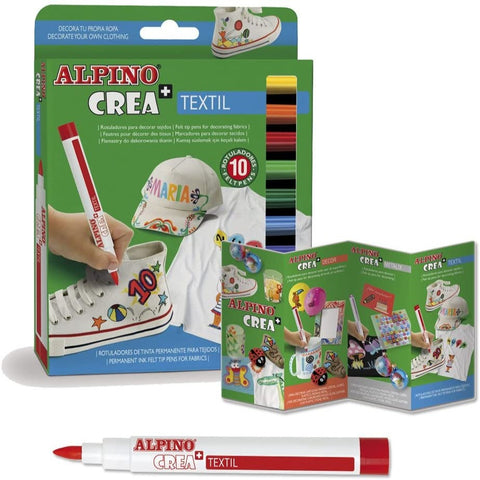 Alpino Fabric Felt Pens Pack of 10