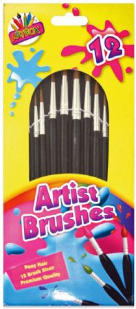 Artbox Artist Brushes Pack of 12 Assorted Sizes