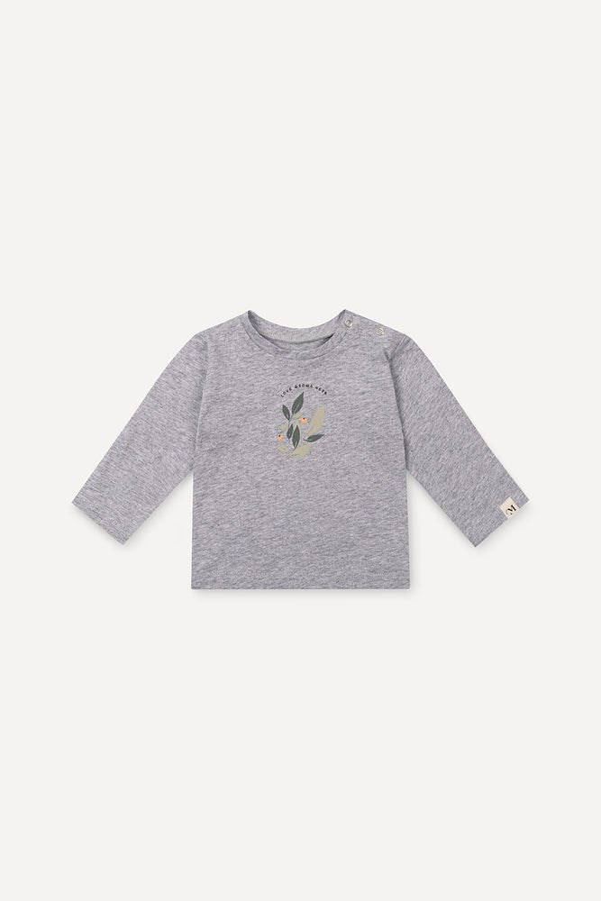 Longsleeve Leaves Grey Melange