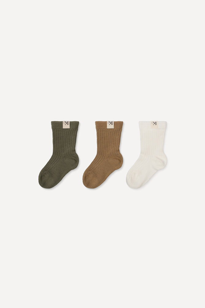 Socks Set Off White, Ocker, Khaki