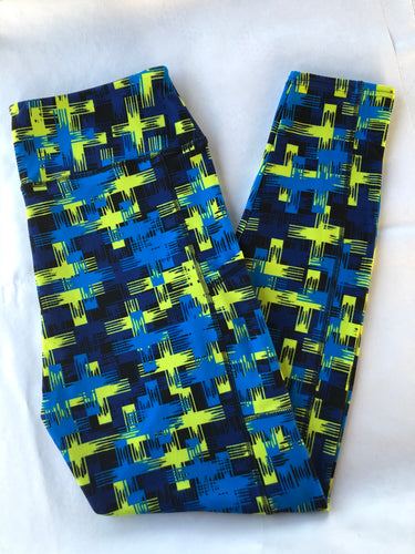 Electra blue yellow funky leggings super soft thick