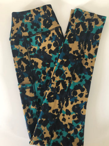 Nabia green blue brown leopard print over camouflage leggings super soft thick