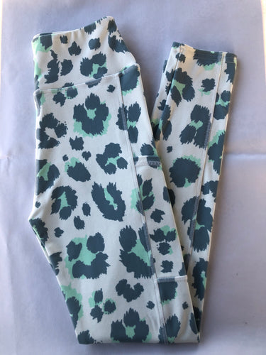 Rhea grey and green leopard print leggings super soft thick