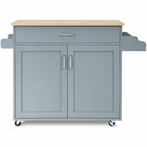 Rolling Kitchen Island Cart with Towel and Spice Rack