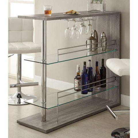 Radiant Rectangular Bar Table With 2 Shelves And Wine Holder